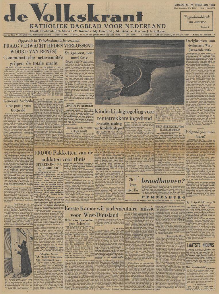 de Volkskrant van 25 februari 1948 Beeld de Volkskrant