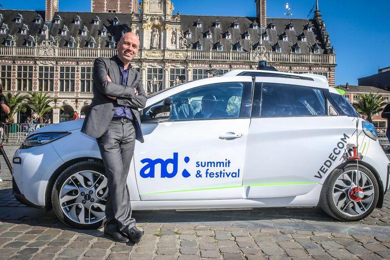 Pieter Goiris, ondernemer in hart en ziel. Zo stuurde hij zopas ook een zelfrijdende auto de baan op in Leuven.