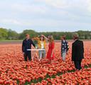 Jenny Groen 'doopt' de nieuwe tulpen van Joris Schouten in Bant.