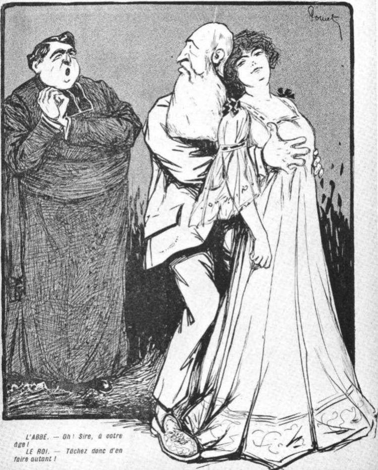 Een cartoon over Blanche Delacroix, de 16-jarige prostituee die later Leopolds enige erfgename werd. Beeld RV