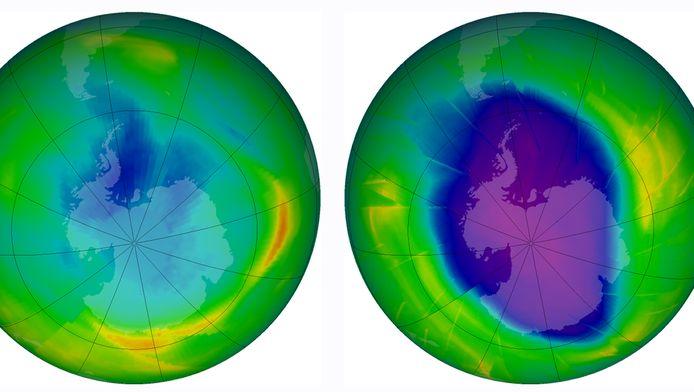 Le trou de la couche d'ozone en 1979 et en 2009