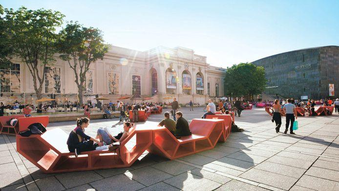 In het 60.000 vierkante meter grote MuseumsQuartier (MQ) is het zalig zitten op kleurrijke banken, 'Enzis' genaamd.