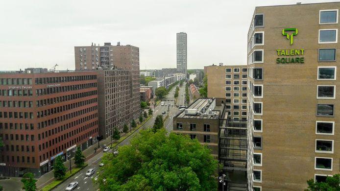 Studentenflat TalentSquare aan de Hart van Brabantlaan. Tilburg University voorziet dat er jaarlijks 500 extra woningen nodig zijn om het snel groeiend aantal studenten te huisvesten.