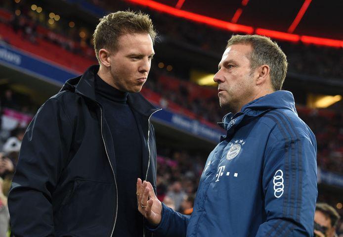 Hansi Flick (r) en zijn opvolger Julian Nagelsmann voor een duel tussen Bayern en RB Leipzig.