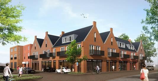 Een artist impression van het gebouw dat gaat verrijzen op de hoek Akkerstraat - Plein in Vlijmen.
