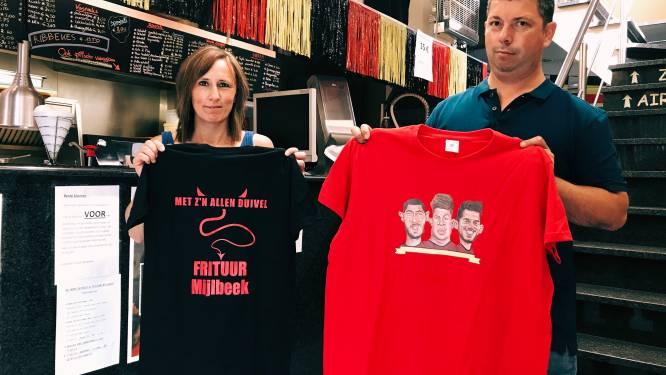 """Frituur Mijlbeek kleurt zwart-geel-rood en pakt uit met stunt: """"Unieke Rode Duivels-shirts te winnen"""""""