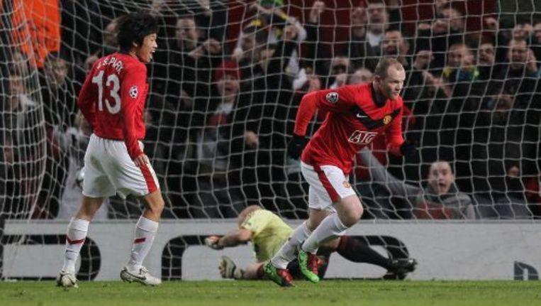 Wayne Rooney na zijn doelpunt tegen AC Milan. ANP Beeld