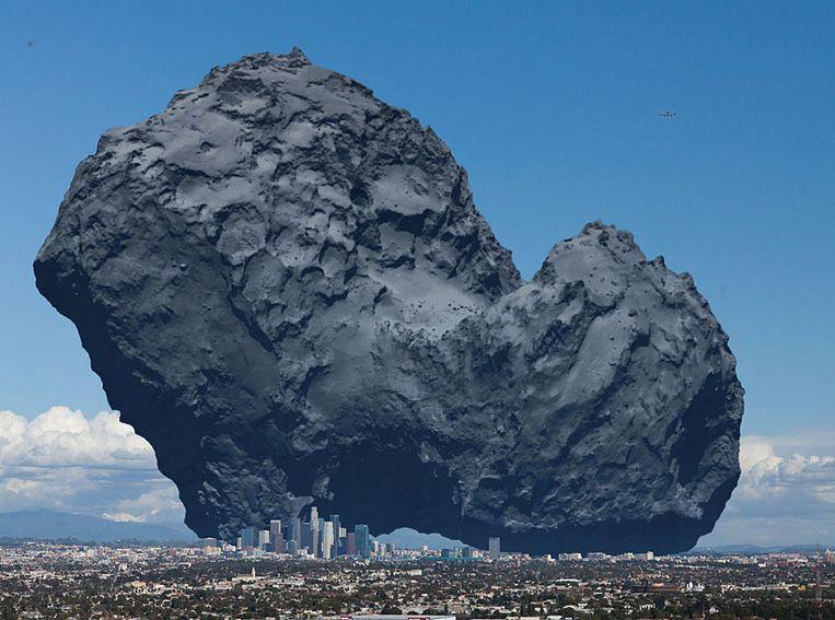 De omvang van de dubbelkomeet vergeleken met de stad Los Angelos. Beeld NASA