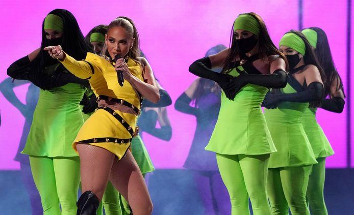 Jennifer Lopez tijdens haar optreden 'Vax Live: The Concert to Reunite the World' afgelopen zondag.