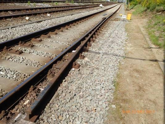 De ontspoortong bij station Ede-Wageningen die vrijdag een trein liet ontsporen