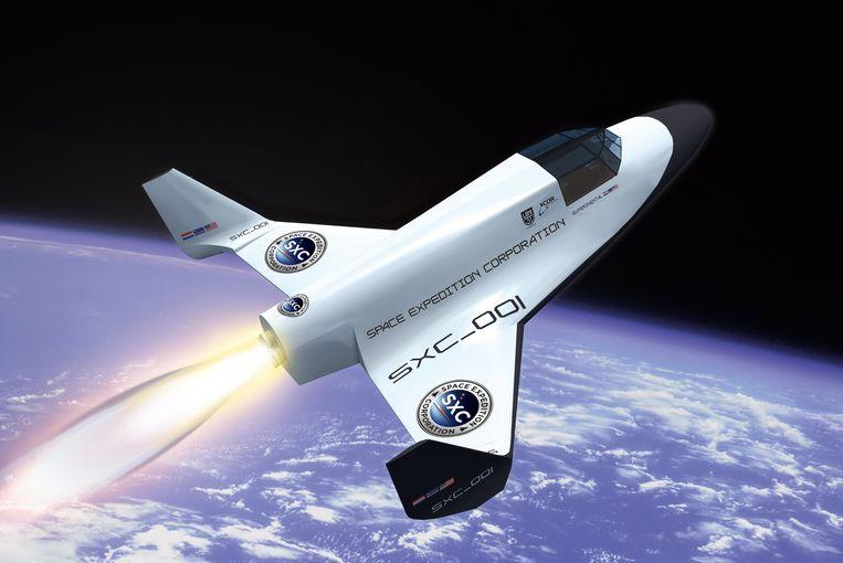 Het ruimtetuig Lynx, van het Amerikaanse ruimtebedrijf XCOR. Het blijft vooralsnog bij een simulatie Beeld pacexc.com