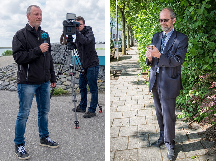 Links Omroep Zeeland-verslaggever Mark van Leijden. Rechts Peter Koeman, een vaste volger van de Omroep.