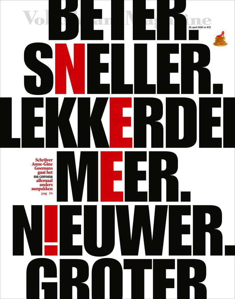 De typografische cover van 25 april 2020. Beeld Volkskrant Magazine
