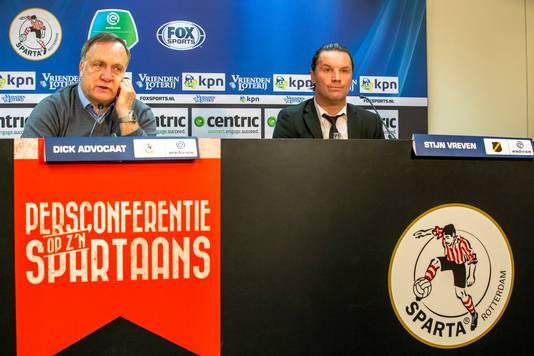 Sparta trainer coach Dick Advocaat (L) , NAC trainer coach Stijn Vreven (R)