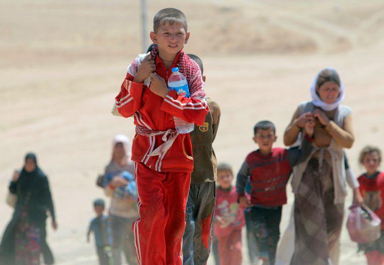 Duizenden jezidivrouwen en -kinderen die niet konden vluchten werden door IS gevangen genomen en mishandeld. Beeld REUTERS