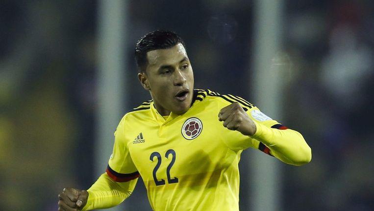 De Colombiaanse verdediger Murillo viert zijn doelpunt.
