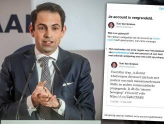 """Twitter blokkeert account Tom Van Grieken nadat hij politicus Vooruit beschuldigt huis te decoreren met """"posters van massamoordenaars"""""""