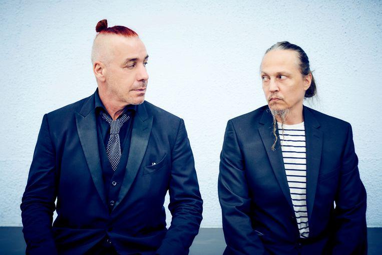 Till Lindemann en Peter Tägtgren in Sint-Petersburg.  Beeld Jens Koch