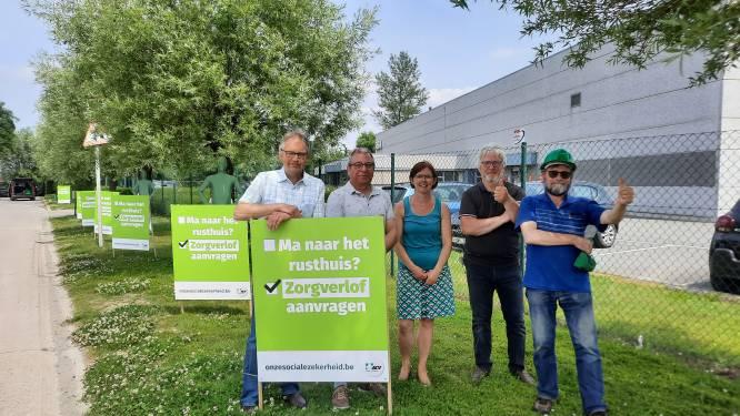 ACV West-Vlaanderen voert actie op bedrijvenzone De Arend om sociale zekerheid 'zichtbaar' te maken