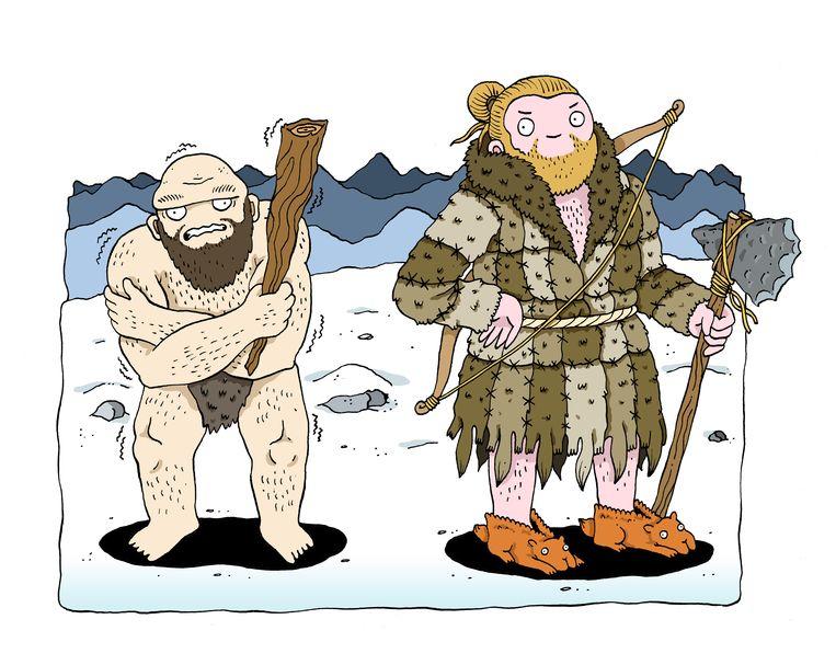 'Soms zit het in de details. De homo sapiens overleefde de ijstijd omdat hij kleren kon naaien, en de neanderthaler niet. Hij was beter beschermd tegen de kou.' Beeld Sven Franzen