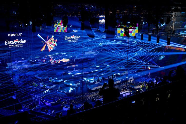 Rotterdam Ahoy wordt gereedgemaakt voor het Eurovisiesongfestival. Op 18, 20 en 22 mei vinden hier de halve finales en de finale plaats. Beeld ANP