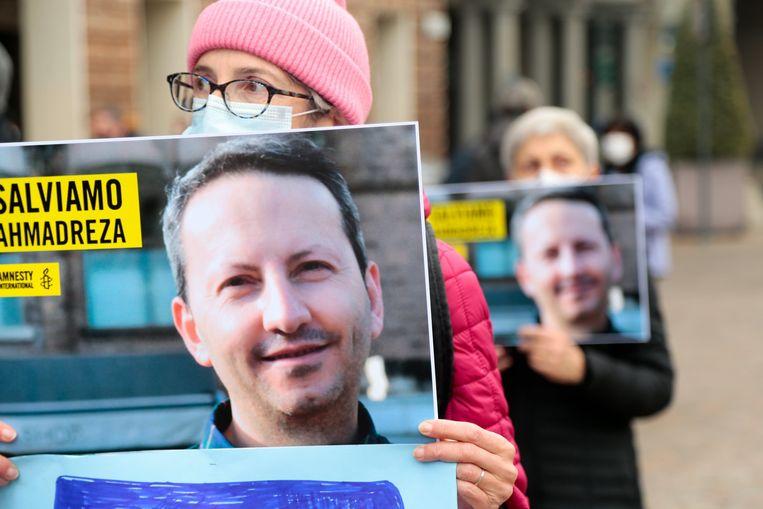 Een betoging voor de vrijlating van Djalali in Italië, waar hij ook professor was. Beeld Photo News