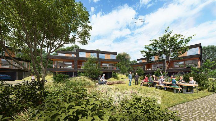 Het toekomstige buurtje in Park de Twee Heuvels.