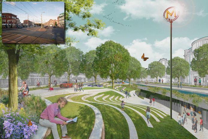 Het kruispunt van de Loosduinseweg met onder meer De La Reyweg. Landschapsarchitect Léon Emmen wil deze 'zevensprong' omtoveren in een groene oase.