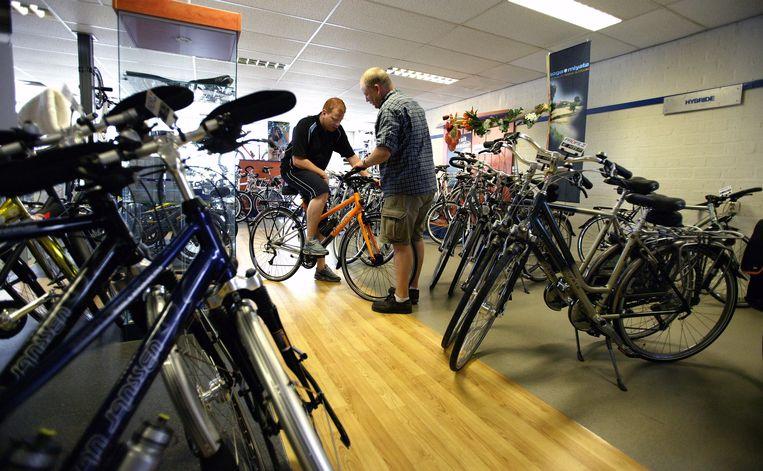 De showroom van een fietsspecialist. Beeld null
