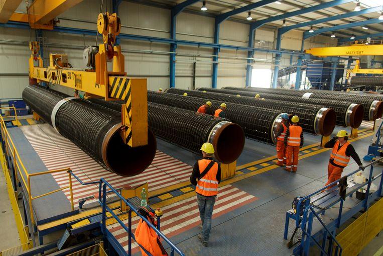 Pijpen voor de Nord Stream 2.  Beeld Getty Images