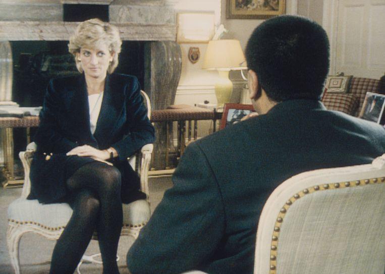 Prinses Diana in 1995 tijdens het interview met Martin Bashir. Beeld Corbis via Getty Images