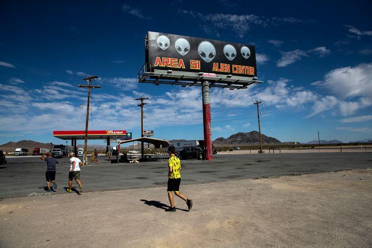 Area 51 is een zwaar beveiligde militaire basis in de Amerikaanse staat Nevada.  Beeld EPA