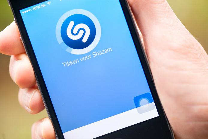 Muziek applicatie Shazam op een smartphone.