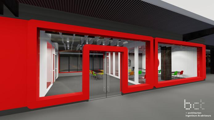 Nieuwe lokalen in de hal van de Gieterij van het ROC van Twente in Hengelo.