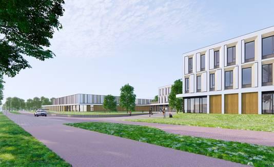 Het nieuwe Rodenborch College (rechts) met de nieuwe sporthal (links).