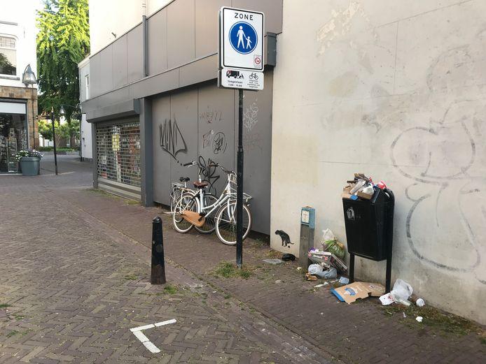 In de Deventer binnenstad zijn de afvalbakken regelmatig vol. Voller dan voorheen. Volgens de gemeente een gevolg van de coronacrisis: mensen nemen meer dan ooit eigen eten en drinken mee. Of ze halen af en willen veel verderop pas hun afval kwijt.