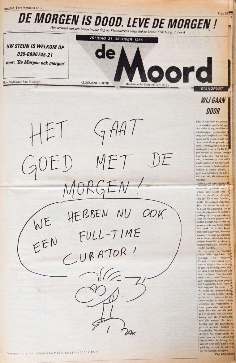 31 oktober 1986. Na het faillissement van De Zwijger begon Jacques Moeraert, alias ZAK, dan maar bij De Morgen te werken. Toen ook deze krant failliet ging, kon hij zijn vreugde niet op. Beeld Studio DM