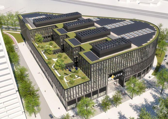 Het nieuwe hoofdbureau van de politie met daktuin en zonnepanelen.