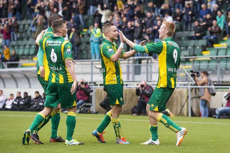 ADO Den Haag viert de 2-0 tegen FC Utrecht. Beeld anp