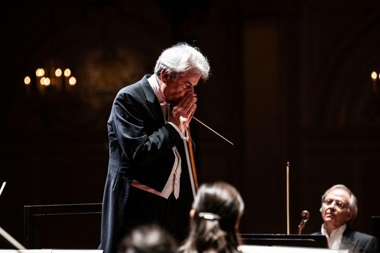 Hartmut Haenchen in het Concertgebouw, december 2020 Beeld Melle Meivogel