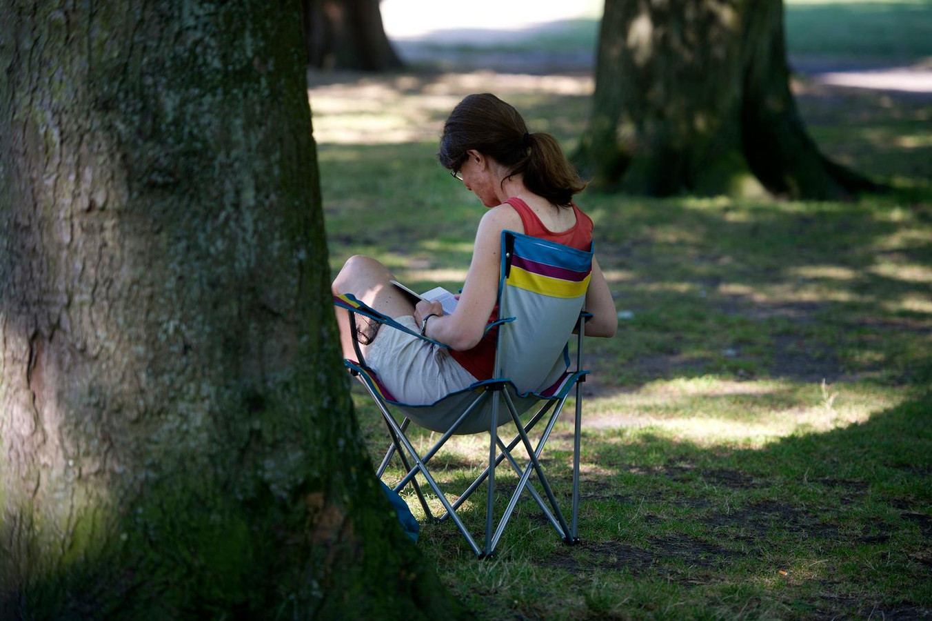 Een vrouw zoekt verkoeling in de schaduw in het Vondelpark