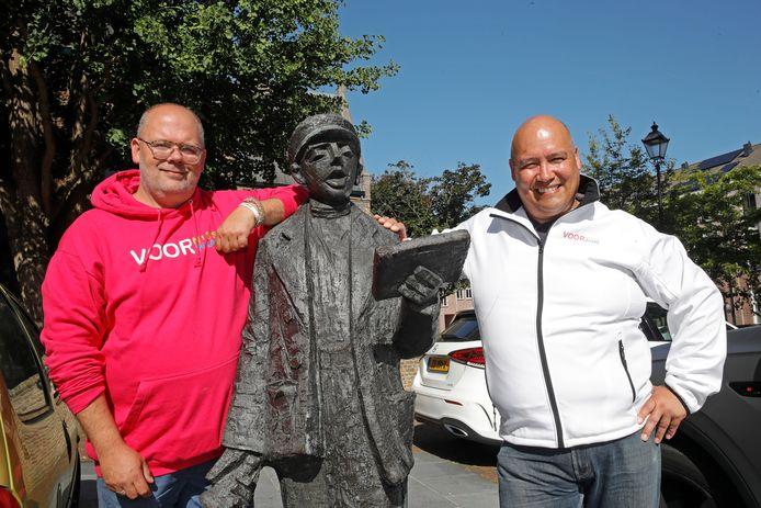 Roy Masthoff (l) en Stephan van Uden van VOOR Nissewaard willen met minimaal vijf zetels de raad van Nissewaard binnenstormen.