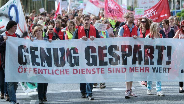 Duitsers trokken vorige maand de straat op om meer loon te eisen. (Archieffoto)