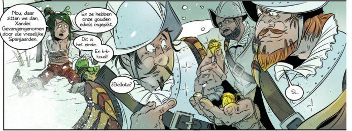 Velpenaar Friso Backer (tweede van rechts) in het stripboek Meander duikt in de geschiedenis van Rheden.