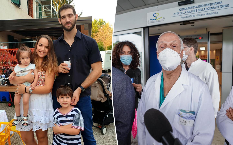 Eitan (rechts onder) en zijn familie. Rechts een van de artsen van het Regina Margherita Kinderziekenhuis in Turijn.
