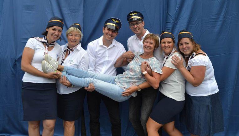 De collega's van juf Martine hadden 'Martine Airlines' in het leven geroepen.