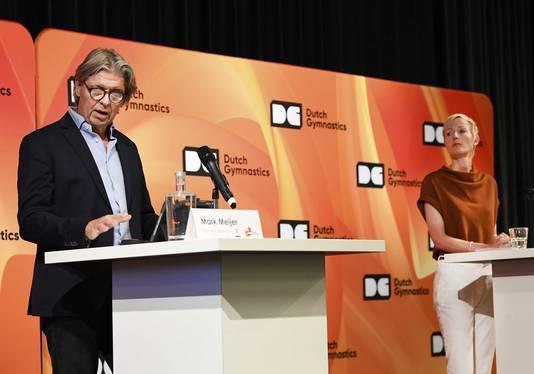 Marieke van der Plas, directeur KNGU en Mark Meijer, technisch directeur KNGU tijdens een persbijeenkomst van de KNGU.