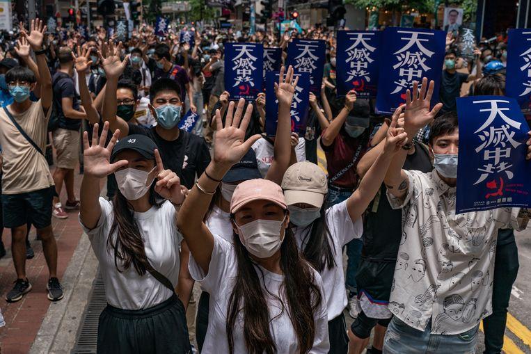 Protesten in Hongkong tegen de overheid. Jonathan Holslag: 'Met de anti-Chinese teneur die nu gezet is in de VS kan je een heel hevige wapenwedloop al niet meer voorkomen.' Beeld Getty Images