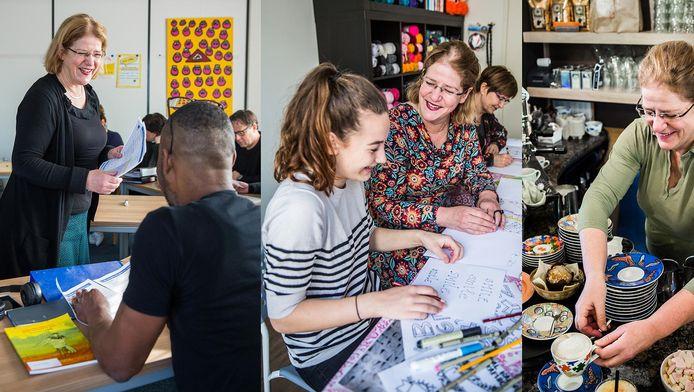 Corry van Tricht geeft Engelse les (links), workshops (midden) én is mede-eigenaar van Bagels & Beans (rechts).