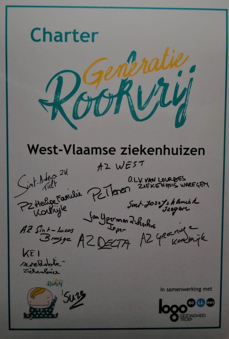 Acht West-Vlaamse ziekenhuizen ondertekenden het charter van 'Generatie Rookvrij'.